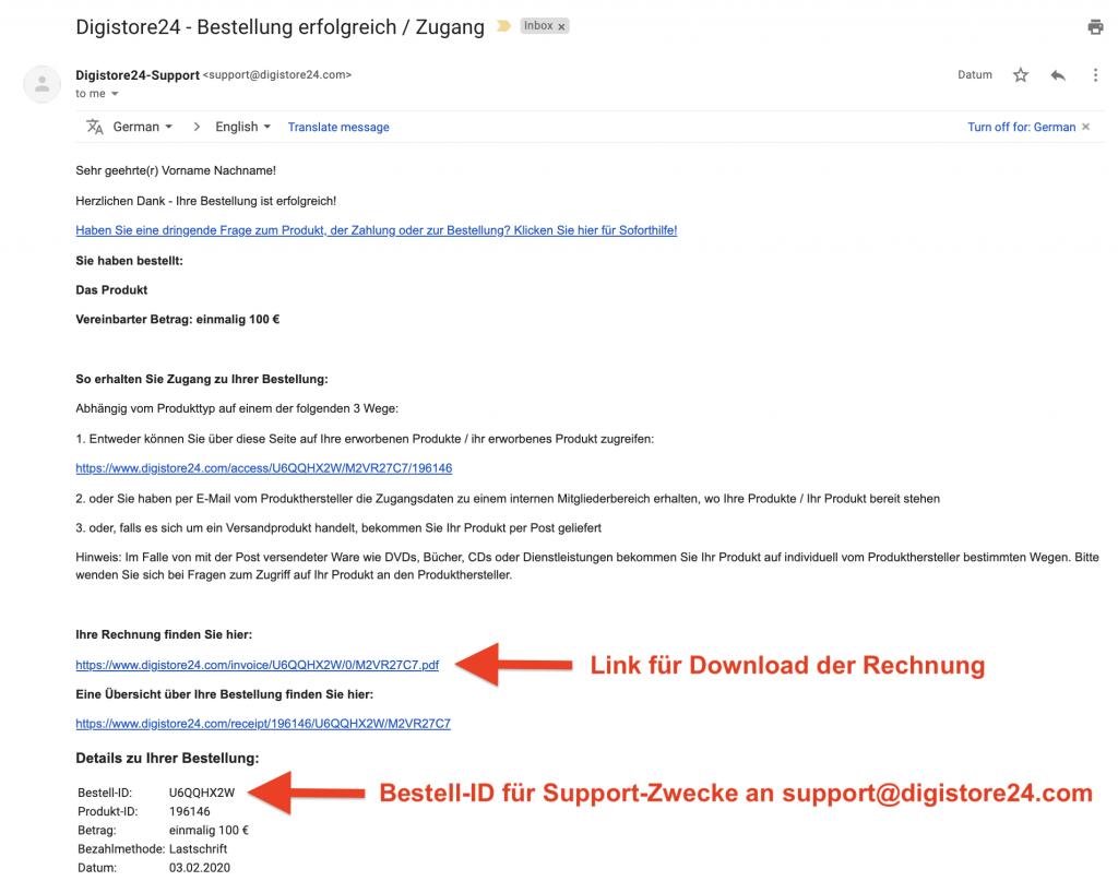 Beispiel-E-Mail-Bestätigung